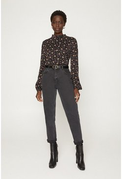 Black Ditsy And Spot Sleeved Blouse