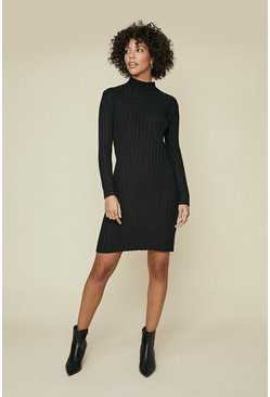Black Rib Detail Long Sleeve Dress