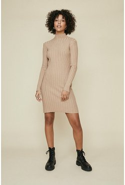 Camel Rib Detail Long Sleeve Dress