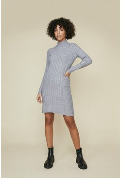 Grey Rib Detail Long Sleeve Dress