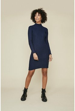 Navy Rib Detail Long Sleeve Dress