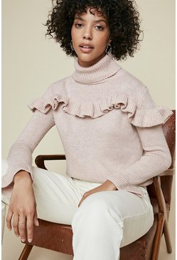 Blush Ruffle Yoke Polo Neck Jumper