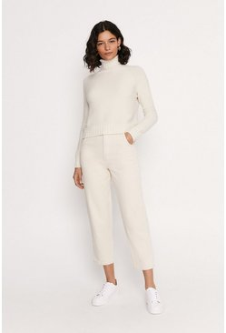 Cream Cropped Polo Neck Knit Top