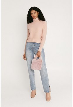 Pink Cropped Polo Neck Knitted Jumper
