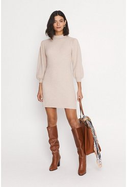 Natural Puff Sleeve Ribbed Knit Dress