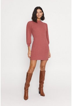 Rose Puff Sleeve Ribbed Knit Dress