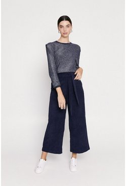 Navy Long Sleeve Tuck Shoulder Sparkle Knitted Jumper