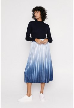 Navy Ombre Velvet Pleated Midi Skirt