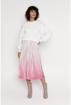 Pink Ombre Velvet Pleated Midi Skirt