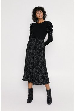 Black Pearl Embelished Puff Sleeved Knitted Jumper