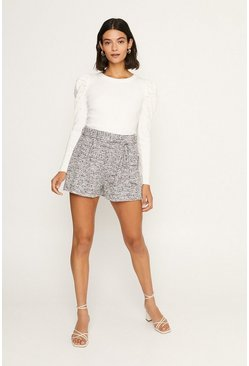 Ivory Pearl Embelished Puff Sleeved Knitted Jumper
