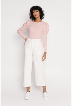 Rose Pearl Embelished Puff Sleeved Knitted Jumper