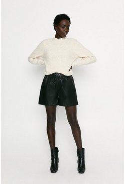 Black Faux Leather Belted Short