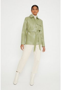 Sage Faux Leather Belted Jacket