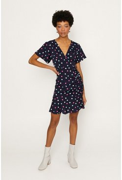 Multi Spot Short Sleeve Skater Dress