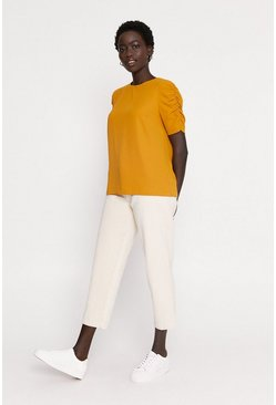 Ochre Ruched sleeve top
