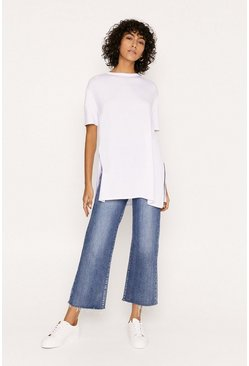 White Split Side T Shirt