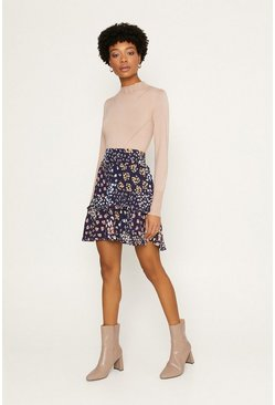 Multi Ditsy Tiered Mini Skirt