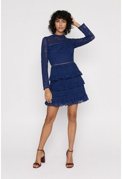 Navy Lace Tiered Skater Dress