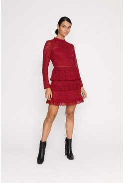 Wine Lace Tiered Skater Dress