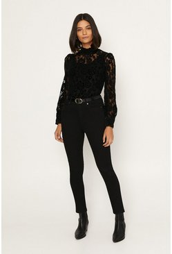 Black Velvet Lace High Neck Blouse