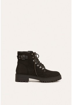 Black Lace Up Buckle Hiking Boot