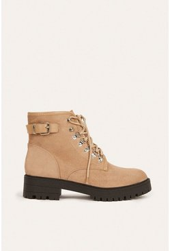 Cream Lace Up Buckle Hiking Boot
