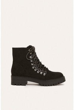 Black Lace Up Heeled Hiking Boot
