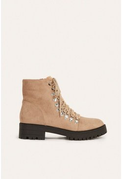 Cream Lace Up Heeled Hiking Boot