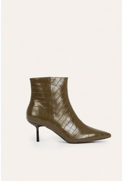 Olive Croc Pixie Ankle Boot