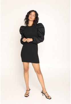 Black Woven Puff Sleeve Knitted Dress