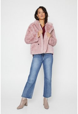 Pink Short Faux Fur Double Breasted Coat