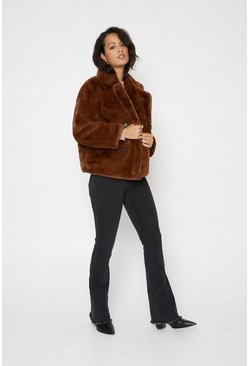 Toffee Short Faux Fur Double Breasted Coat