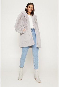 Grey Long Faux Fur Coat