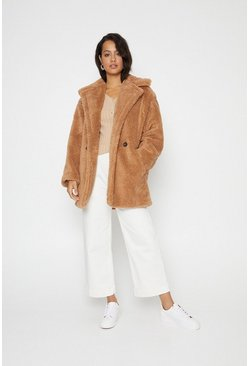 Camel Short Teddy Coat