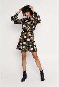 Multi Floral Print Long Sleeve Skater Dress
