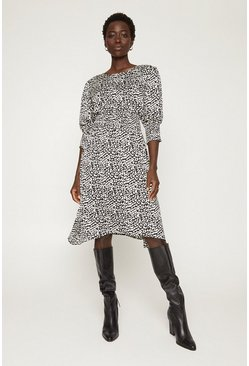 Multi Shirred Animal Print Midi Dress