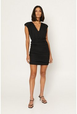 Black Shoulder Pad Ruched Mini Dress