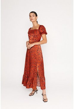 Rust Square Neck Animal Print Maxi Dress