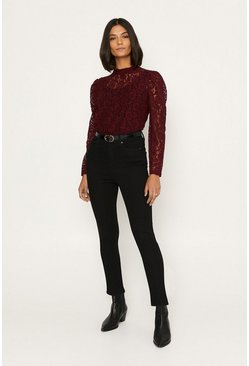 Burgundy Lace High Neck Blouse
