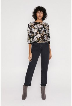 Multi Floral Frill Detail Blouse