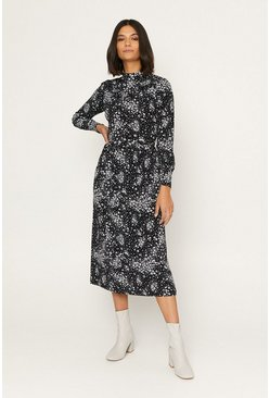 Black Printed Pintuck Midi Dress