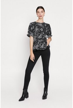 Black Printed Tiered Hem Top