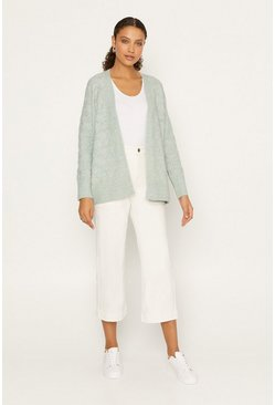 Mint Pointelle Stitched Cardigan