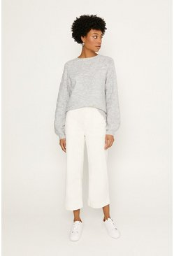 Grey Pointelle Stitched Jumper
