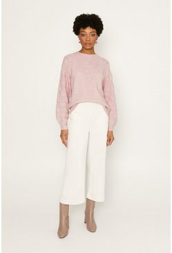 Pink Pointelle Stitched Jumper