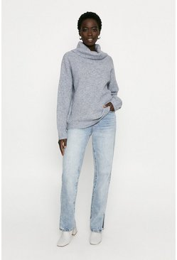 Grey Chunky Roll Neck Knitted Jumper