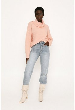 Pink Chunky Roll Neck Knitted Jumper