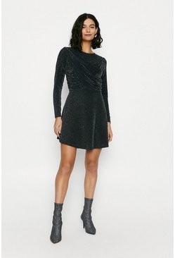 Black Sparkly Drape Front Skater Dress