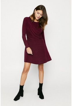 Wine Sparkly Drape Front Skater Dress